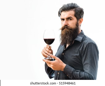 handsome bearded rich man with stylish hair mustache and long beard on serious face in blue fashion shirt holding glass of red wine isolated on white, copy space