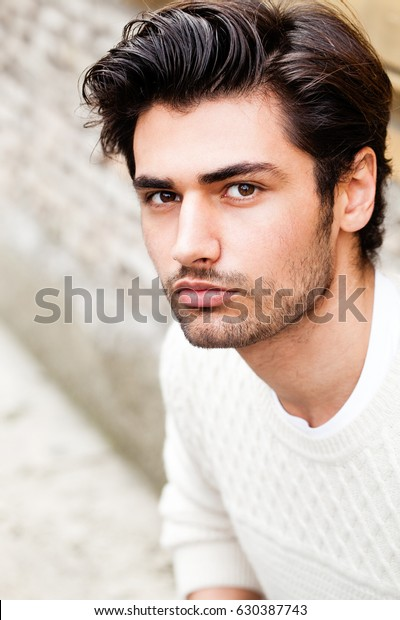 Handsome Beautiful Young Man Outdoor Fashion Stock Photo ...