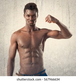 Handsome black man with athletic body posing