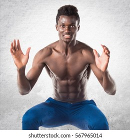 Handsome black man jumping