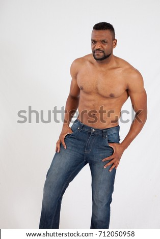 Handsome Black Man No Shirt On Stock Photo Edit Now 712050958