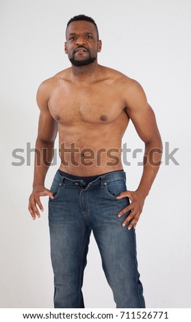 Handsome Black Man Without Shirt Looking Stock Photo Edit Now