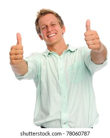 Handsome blond hair blue eyed man holds his thumbs up