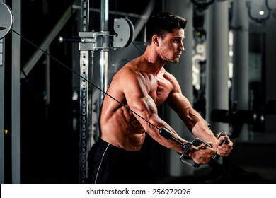 handsome bodybuilder works out  pushing up excercise in gym