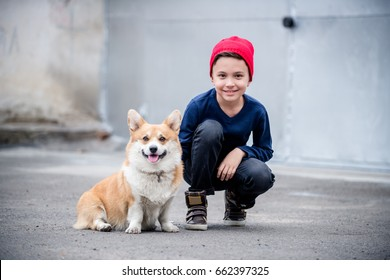 A handsome boy with his four legged welsh corgi pembroke friend looking at the camera