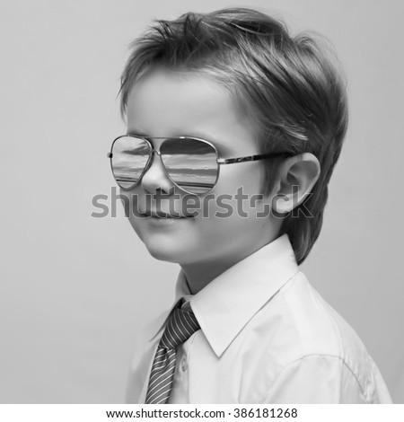 Handsome Boy Mirrored Sunglasses Fashionable Stylish Stock Photo