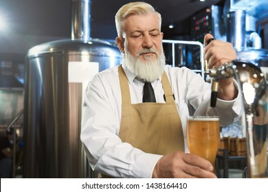 Handsome brewer pouring in glass cold beer with beer tap. Elderly worker standing in modern mini brewery near steel storage tank. Concept of brewering beer.