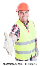 Handsome builder doing hand shake gesture as welcoming concept isolated on white background