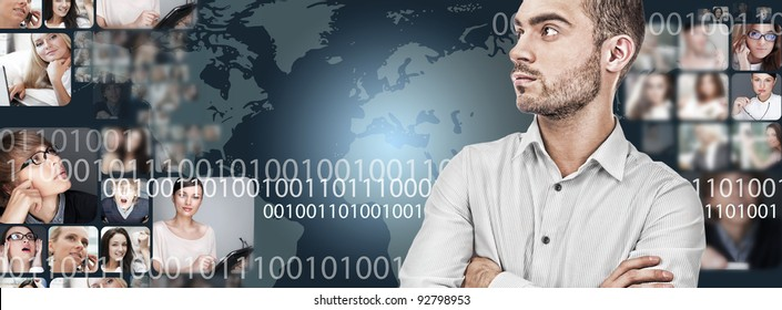 A handsome business man against world map on background with many different people's faces. Can represent a technology social network of friends and communication.