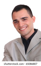 Handsome business man smiling - isolated over a white background