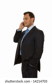 handsome business man talking on the cell phone