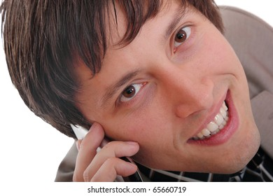 Handsome business man talking on the phone - isolated over a white background