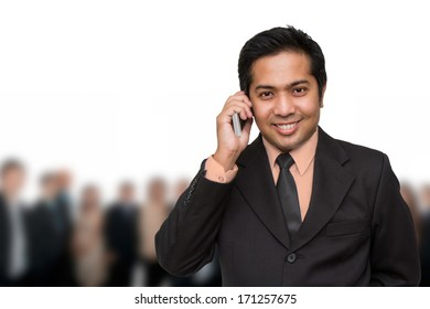 handsome businessman calling by the phone