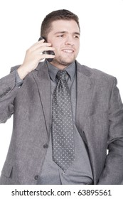 handsome businessman calling on mobile phone