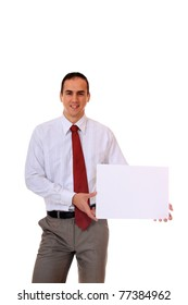 Handsome Businessman holding a blank sign in front of him