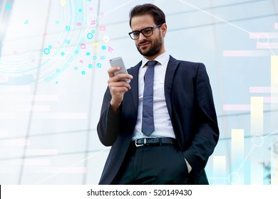 Handsome businessman looking for interesting multimedia applications in mobile phone store. Male gadget user downloading and updating new programs for his cellular telephone. Infographics icons design