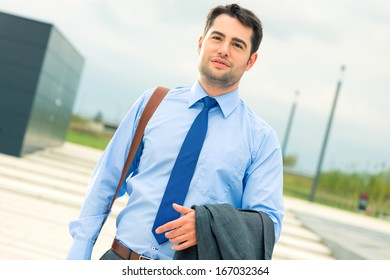 Handsome businessman or manager in leisure time going home