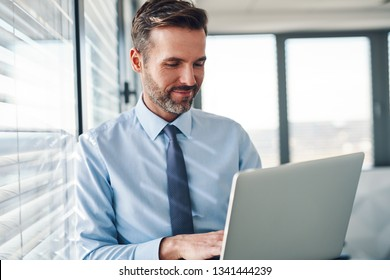 Handsome businessman in modern office looking on laptop computer