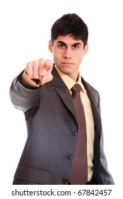 Handsome businessman pointing. Isolated over white background - selective focus