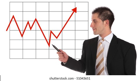 A handsome businessman presenting an annual balance report. All on white background.