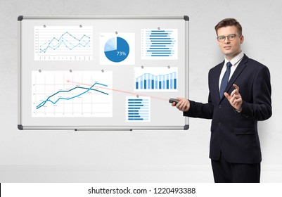 Handsome businessman presenting report on white board with laser pointer