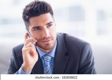 Handsome businessman sitting on sofa making a call in the office