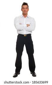 Handsome businessman in white shirt standing