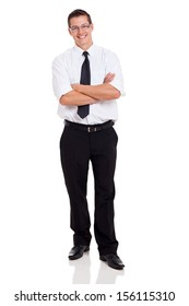 handsome businessperson with arms crossed on white background