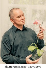 Handsome caucasian 40s man smiling portrait on grey background with black shirt holding orchid in pot and looking at this plant.
