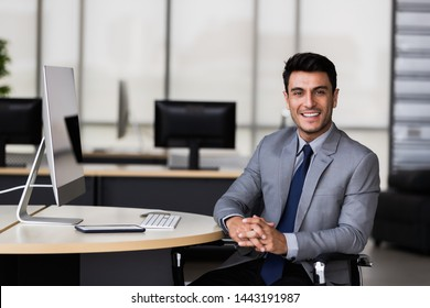 Handsome Caucasian Asian businessman smiling and using computer in modern office.