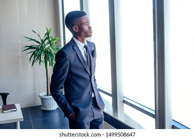 Handsome cheerful african american in a modern office with a panoramic window