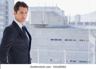 Handsome confident businessman standing in his office