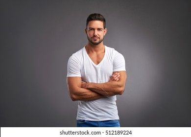7ce8e727e Handsome Confident Young Man Standing Smiling Stock Photo (Edit Now ...
