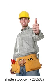 A handsome construction man with his thumbs up isolated over white (Focus on thumb)