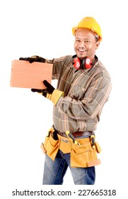 handsome construction worker isolated in white background