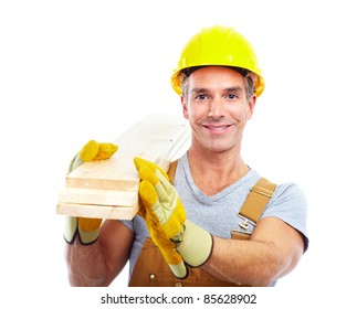 handsome contractor  in yellow uniform. Isolated over white background