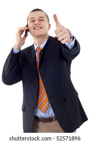 Handsome Corporate Man Being Positive On A Business Call