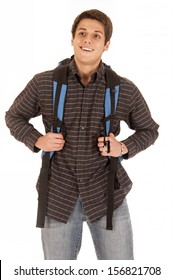 Handsome dark complected young man with backpack
