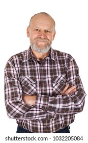 Handsome elderly man with checkered shirt smiling to the camera on isolated background
