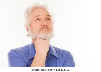 Handsome elderly man with gray beard thoughtful isolated over white background