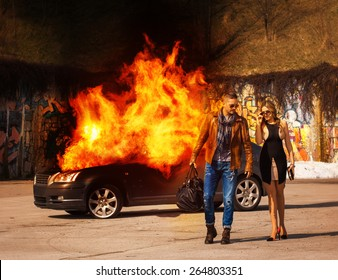 handsome elegant man with a bag in hand walks with sexy young girl from exploding car outdoors