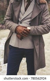 Handsome elegant man in the park wear suit and coat