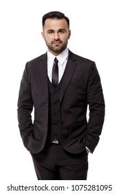 handsome elegant sexy man in black suit on white background. businessman