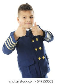 "A handsome elementary ""airline pilot"" happily gesturing a double thumbs-up.  On a white background."