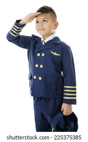 """A handsome elementary """"airline pilot"""" saluting with his hat to his side and right hand at his forehead.  On a white background."""