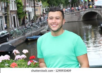 Handsome ethnic man in Amsterdam