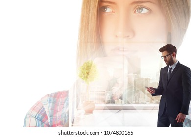 Handsome european businessman using smartphone in abstract office interior with portrait and city view. Communication and online dating concept. Double exposure