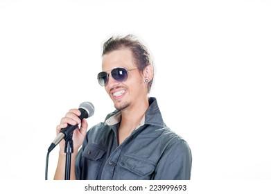Handsome european singer on the white background