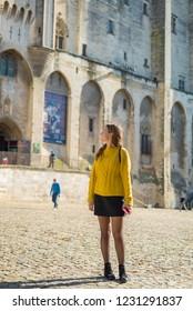 handsome french girl traveling in Avignon, Provence, France