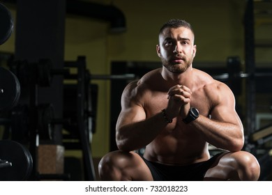 Handsome Good Looking And Attractive Young Man With Muscular Body Relaxing In Gym